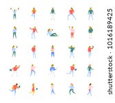 flat vector icons pack of... | Shutterstock .eps vector #1016189425