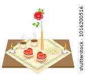 festive table for lovers.... | Shutterstock .eps vector #1016200516