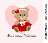 cute little teddy bear girl ... | Shutterstock .eps vector #1016205832