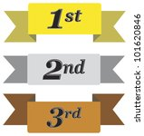 Winners ribbons for first, second and third place in gold, silver and bronze isolated on white - stock vector