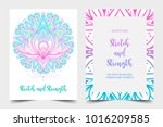stretch and strength. yoga card ... | Shutterstock .eps vector #1016209585