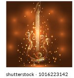 elegant golden guitar outline ... | Shutterstock . vector #1016223142