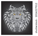 lion head decorated with sliver ... | Shutterstock .eps vector #1016227012