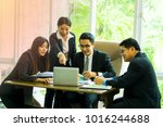 corporate business team and... | Shutterstock . vector #1016244688