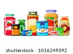 canned goods in a row. tinned... | Shutterstock .eps vector #1016249392