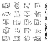 online learning icon. studying... | Shutterstock .eps vector #1016249506