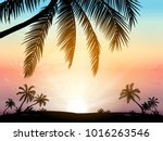card with realistic palm trees... | Shutterstock .eps vector #1016263546