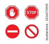 vector red stop signs set   Shutterstock .eps vector #1016273935