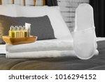 close up cotton hotel towel... | Shutterstock . vector #1016294152