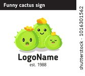 happy cactus logo  cartoon... | Shutterstock .eps vector #1016301562