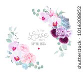 floral vector round frame of... | Shutterstock .eps vector #1016308852