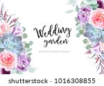 Stock vector stylish plum colored and pink flowers vector design banner card rose purple carnation bell 1016308855