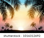 card with realistic palm trees... | Shutterstock .eps vector #1016312692