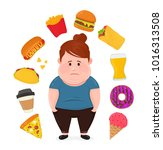 fat sad young woman surrounded... | Shutterstock .eps vector #1016313508