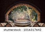 old wine cellar with oak...   Shutterstock . vector #1016317642