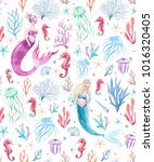 Watercolor Sea Pattern With...