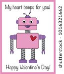 my heart beeps for you valentine | Shutterstock . vector #1016321662