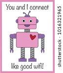 robot valentine greeting card | Shutterstock . vector #1016321965