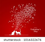 picture of two cats and doddle... | Shutterstock .eps vector #1016322676