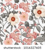 Stock vector seamless pattern beautiful fabric blooming realistic isolated flowers vintage background pr 1016327605