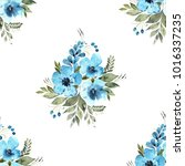 watercolor floral seamless... | Shutterstock . vector #1016337235