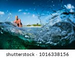 happy surfer rides the clear... | Shutterstock . vector #1016338156