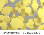 yellow hexagons of random size... | Shutterstock . vector #1016338372