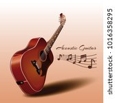 wooden acoustic guitar and...   Shutterstock .eps vector #1016358295