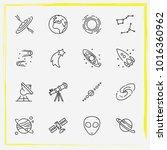 astronomy line icon set milky... | Shutterstock .eps vector #1016360962