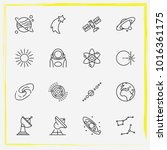 astronomy line icon set planet  ... | Shutterstock .eps vector #1016361175