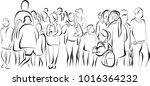 crowd of anonymous people... | Shutterstock .eps vector #1016364232
