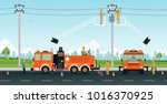 electrician works on a basket... | Shutterstock .eps vector #1016370925