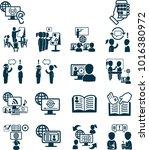 cool set of online education... | Shutterstock .eps vector #1016380972