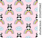 Stock vector seamless baby pattern with cute pandas rainbow and clouds best choice for cards invitations 1016393662