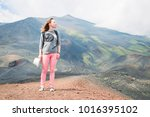 welcome etna  italy. girl happy ... | Shutterstock . vector #1016395102