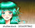 sadness anime girl under the... | Shutterstock . vector #1016397862