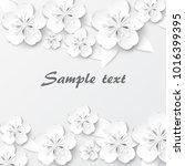 paper art flowers background.... | Shutterstock .eps vector #1016399395