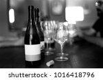 elegant black and white wine...   Shutterstock . vector #1016418796