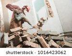 Worker With Demolition Hammer...