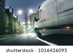 delivery van drives in... | Shutterstock . vector #1016426095