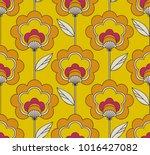 seamless retro floral pattern   Shutterstock .eps vector #1016427082