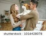 young couple of caucasian male... | Shutterstock . vector #1016428078