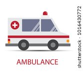 ambulance car with shadow on... | Shutterstock .eps vector #1016430772