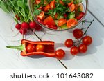 Healthy salad made ??in the garden served in a bowl - stock photo