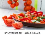Healthy salad made ??of tomatoes in the garden - stock photo
