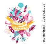 happy carnaval banner template... | Shutterstock .eps vector #1016431726