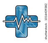 cross with pulse cardiac | Shutterstock .eps vector #1016439382