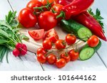 Ingredients for a fresh spring salad - stock photo