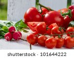 Close up of fresh raw vegetables in the garden - stock photo