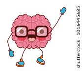 brain cartoon with glasses and... | Shutterstock .eps vector #1016445685
